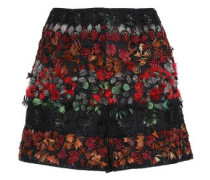 Feather-trimmed Embellished Tulle Shorts Black