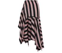 Asymmetric Ring-embellished Striped Twill Mini Skirt Antique Rose
