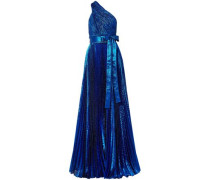 One-shoulder Plissé Silk-blend Lamé Gown Bright Blue