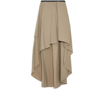 Asymmetric pleated cotton-blend skirt