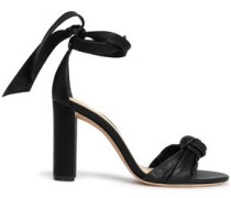 Clarita Knotted Leather Sandals Black