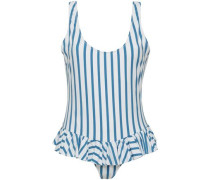 Open-back Ruffled Striped Swimsuit Blue