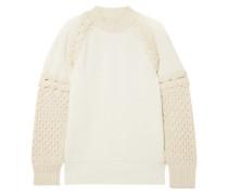 Two-tone Paneled Cotton-blend Sweater Ecru
