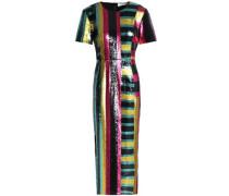 Striped sequined midi dress