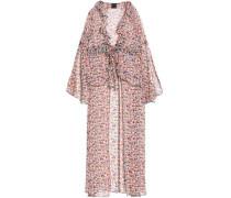 Ruffle-trimmed floral-print silk-georgette top