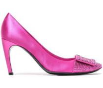 Crystal-embellished Satin Pumps Bright Pink