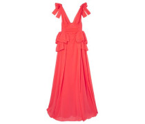 Bow-embellished Ruffled Cotton Maxi Dress Papaya