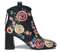 Myra whipstitched embroidered leather ankle boots