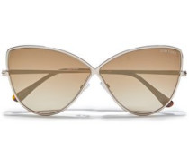 Woman Cat-eye Tortoiseshell Acetate And Gold-tone Mirrored Sunglasses Light Brown