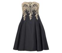 Metallic lace-paneled pleated twill dress