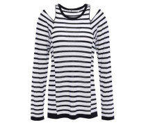Cutout Striped Merino Wool Top White