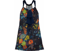 Chiffon-trimmed Floral-print Silk-gauze Top Midnight Blue Size 1