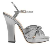 Farrah Knotted Lamé Platform Sandals Silver