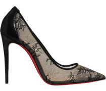 554 100 Lace And Lamé Pumps Black