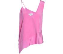 Asymmetric silk-crepe top