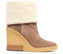 Woman Shearling-paneled Suede Wedge Ankle Boots Mushroom