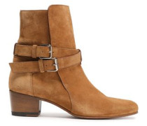 Buckle-detailed Suede Ankle Boots Light Brown