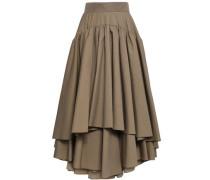 Layered Cotton-blend Maxi Skirt Mushroom