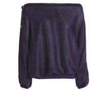 Metallic crochet-knit top