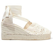 Carina Crocheted Wedge Espadrilles Cream