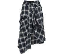Tie-front Checked Cotton-blend Skirt Emerald