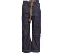 Belted High-rise Straight-leg Jeans Dark Denim