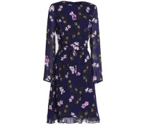 Woman Ruffle-trimmed Floral-print Chiffon Dress Indigo