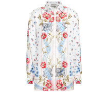 Woman Printed Silk-satin Twill Shirt White