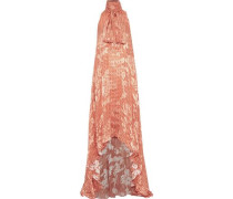 Pussy-bow Printed Fil Coupé Chiffon Gown Orange