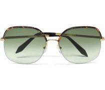 D-frame gold-tone and tortoiseshell acetate sunglasses