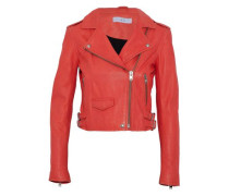Ashville Cropped Leather Biker Jacket Papaya
