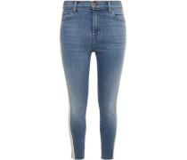 Woman Stripe-trimmed Faded Mid-rise Skinny Jeans Mid Denim