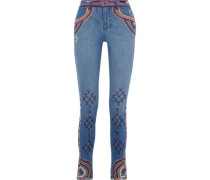Woman On My Own Cropped Embellished Mid-rise Skinny Jeans Mid Denim