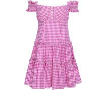 Maria Off-the-shoulder Gingham Cotton-poplin Mini Dress Magenta