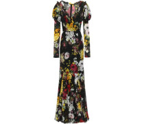 Fluted Wrap-effect Floral-print Silk-blend Chiffon Gown Black