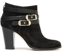 Melba Leather-trimmed Suede Ankle Boots Black