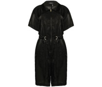 Belted Moire Playsuit Black