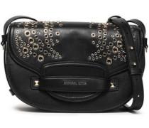 Eyelet-embellished Leather Shoulder Bag Black Size --