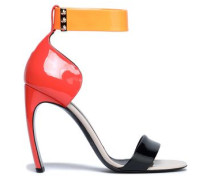 Studded Color-block Patent-leather Sandals Coral