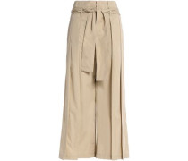 Pleated cotton-twill wide-leg pants