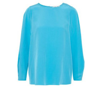 Pleated Washed-silk Blouse Turquoise