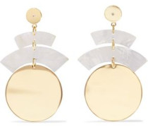 Gold-tone resin and crystal earrings