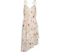 Wrap-effect floral-print crepe de chine dress