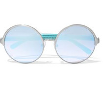Round-frame Acetate And Silver-tone Mirrored Sunglasses Turquoise Size --