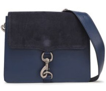 Woman Mab Suede-paneled Leather Shoulder Bag Navy