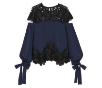 Panele Guipure Lace And Cady Gown Navy