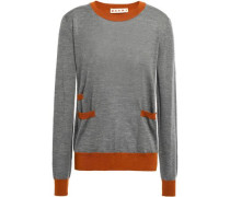Two-tone Cashmere Sweater Gray