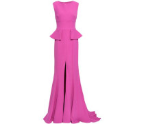 Open-back Stretch-crepe Peplum Gown Magenta