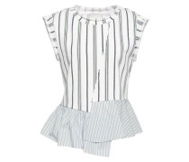 Striped Poplin-paneled French Cotton-terry Top Off-white