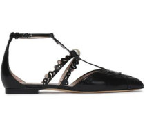 Faux pearl-trimmed laser-cut leather point-toe flats